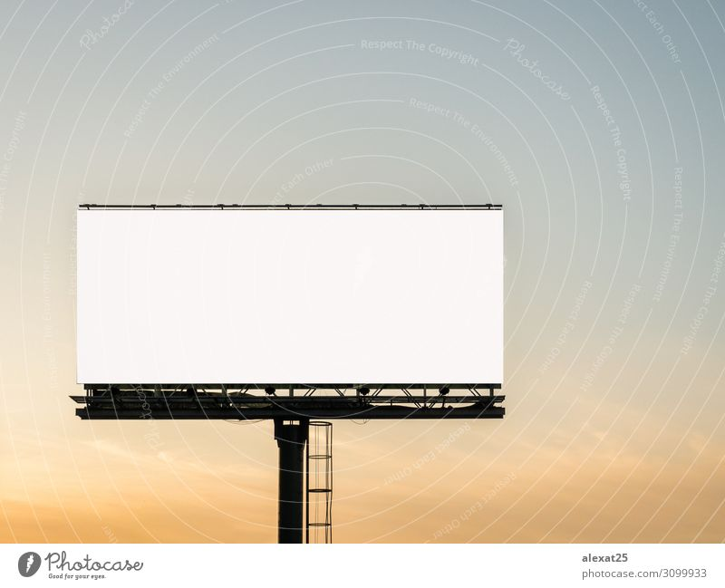 Blank billboard in the sunset Business Media Sky Street Large White Advertising ad advertise advertisement announcement background Banner bigboard Canvas clear