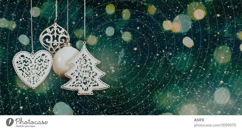 Christmas background with baubles and lights Blue Green White Tree Dark Snow Feasts & Celebrations Style Copy Space Design Decoration Bright Gold Heart