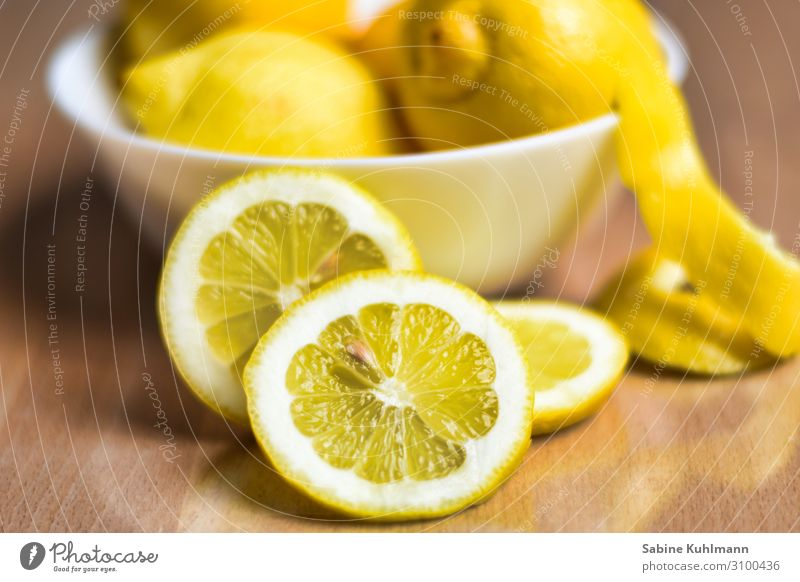 lemon Healthy Eating Senses Fragrance Bowl Fresh Delicious Juicy Sour Yellow Colour Lemon Citrus fruits Lemon yellow Lemon peel Slice of lemon Colour photo
