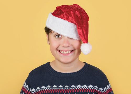 Child Wearing Christmas Santa Claus Hat Human being Christmas & Advent White Red Joy Winter Lifestyle Funny Emotions Family & Relations Laughter