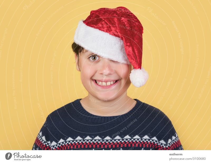 Child Wearing Christmas Santa Claus Hat Lifestyle Joy Winter Feasts & Celebrations Christmas & Advent New Year's Eve Human being Masculine Family & Relations