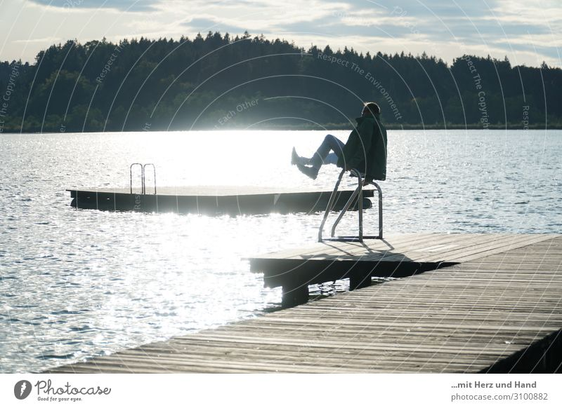 Gymnastics at the lake Trip Fitness Sports Training bathing jetty Masculine Man Adults 1 Human being 45 - 60 years Sunlight Summer Beautiful weather Lake