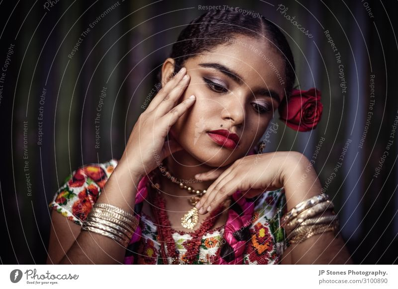Beautiful young lady in traditional Mexican dress. Feminine Young woman Youth (Young adults) Skin Head Hair and hairstyles Face Eyes Ear Nose Mouth Lips Hand