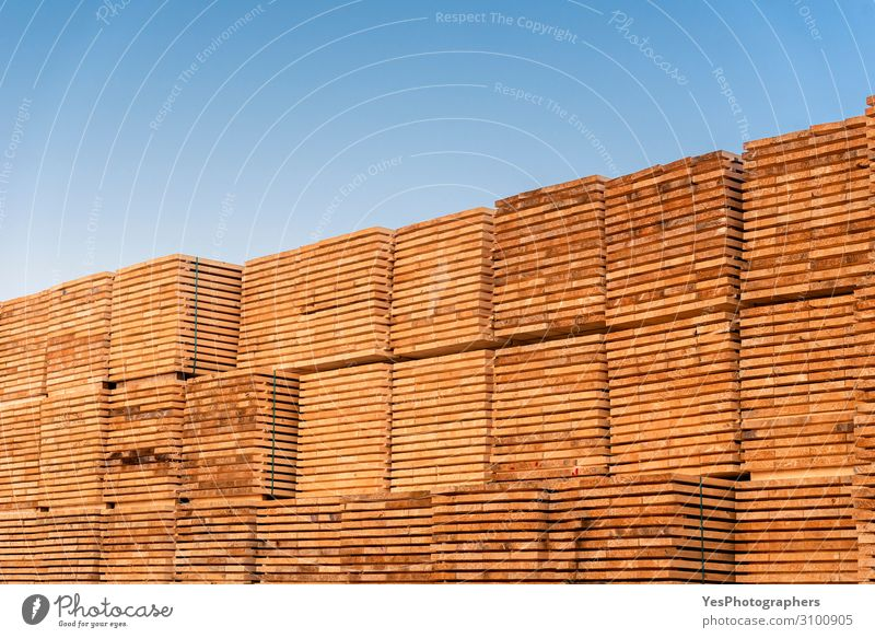 Wood planks pile under the blue sky. Outside wood stock Factory Economy Business Saw Environment Tree Destruction Alternative Blue sky carpentry commercial Cut