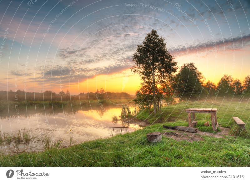 Place for picnic. Autumn dawn scene panorama Sky Vacation & Travel Nature Green Water Landscape Red Tree Forest Far-off places Yellow Environment Natural Meadow