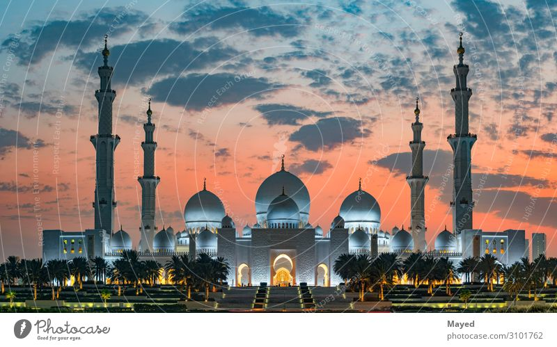 Sheikh Zayed Grand Mosque Luxury Exotic Educational trip Culture Sunrise Sunset Climate Weather Beautiful weather Warmth Abu Dhabi United Arab Emirates Asia