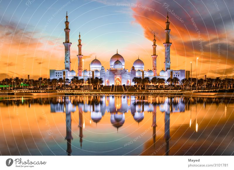 Zayed Grand Mosque Town Water Clouds Architecture Religion and faith Building Art Moody Book Tourist Attraction Hope Skyline Landmark Manmade structures