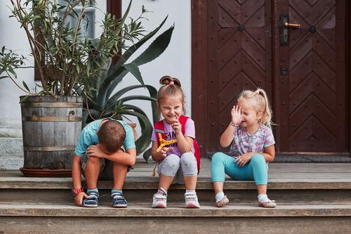 Children making silly faces Joy Face Funny Emotions Happy Playing Sit Authentic Crazy Cute Posture Indicate Make Comic Gesture