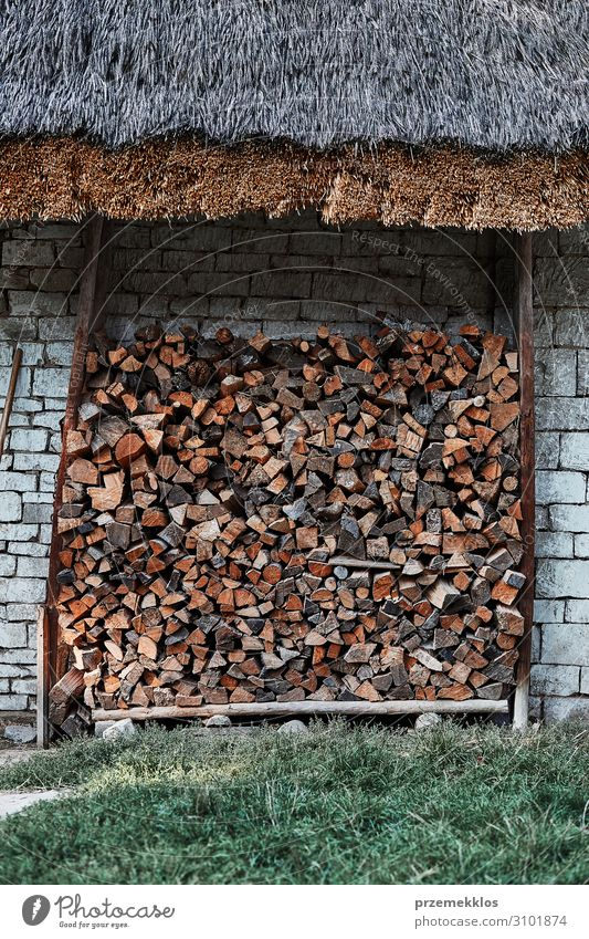 Logs of firewood stored under the stone shed Wood Authentic Accumulation Stack Material fireplace Firewood wall Storage Timber woodpile hardwood thatch Raw