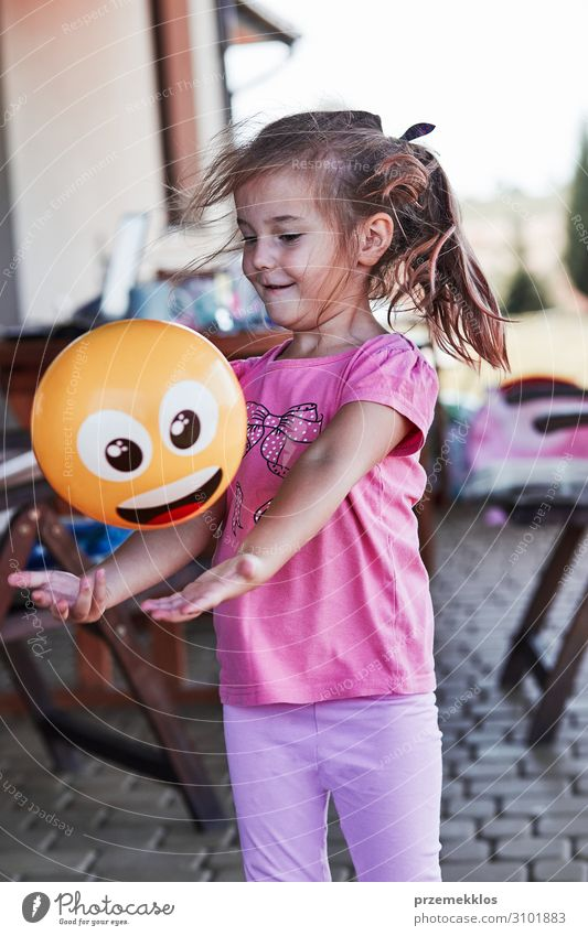 Little girl playing in a home playground Child Human being Vacation & Travel Summer House (Residential Structure) Joy Girl Emotions Happy Small Playing Smiling
