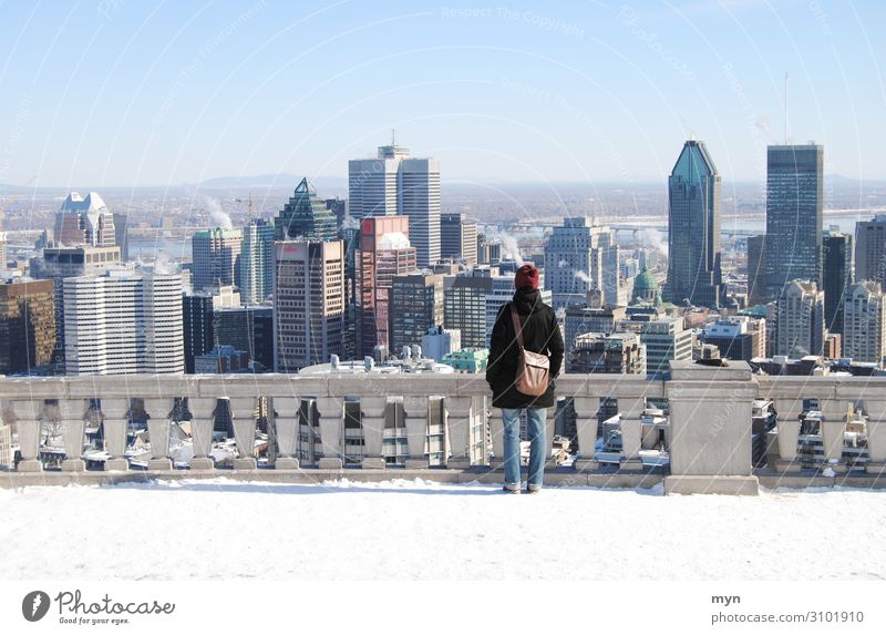 Woman with handbag in front of Montréal skyline in Canada with snow Montreal City Skyline Snow Vantage point vantage point viewing platform Québec Handbag Town