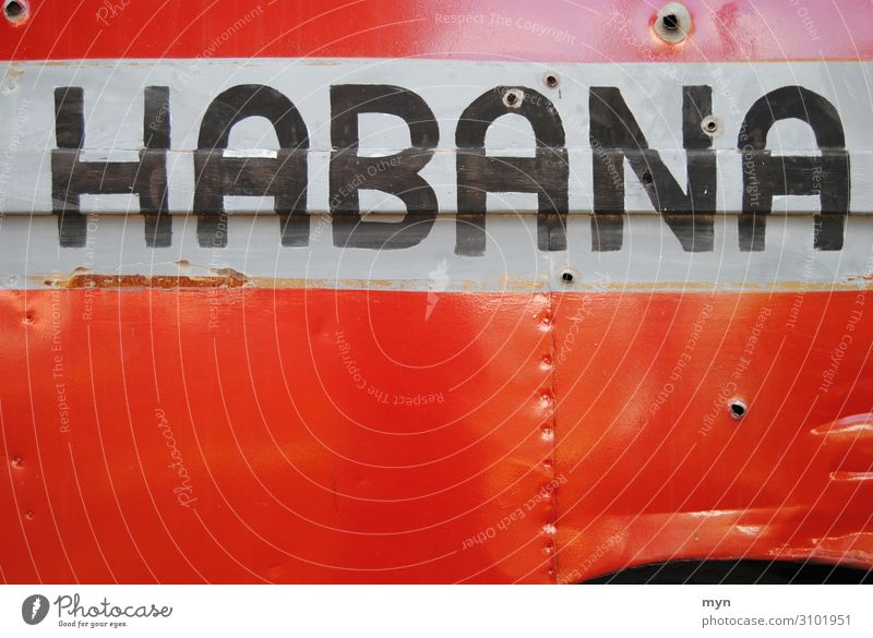 Inscription of a historical truck in Havana with bullet holes habana Cuba Truck Metal Tin car Car Delivery truck Red writing lettering Street Vintage car