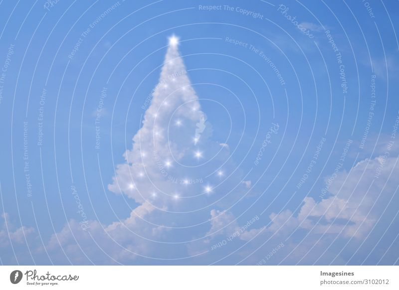 "Clouds Christmas tree with lights Christmas & Advent New Year's Eve Nature Sky Sky only Weather Anticipation Moody ""Christmas tree magical Abstract Decoration"