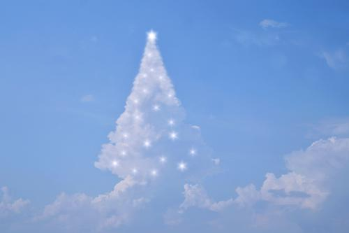 """Clouds Christmas tree with lights Christmas & Advent New Year's Eve Nature Sky Sky only Weather Anticipation Moody """"Christmas tree magical Abstract Decoration"""