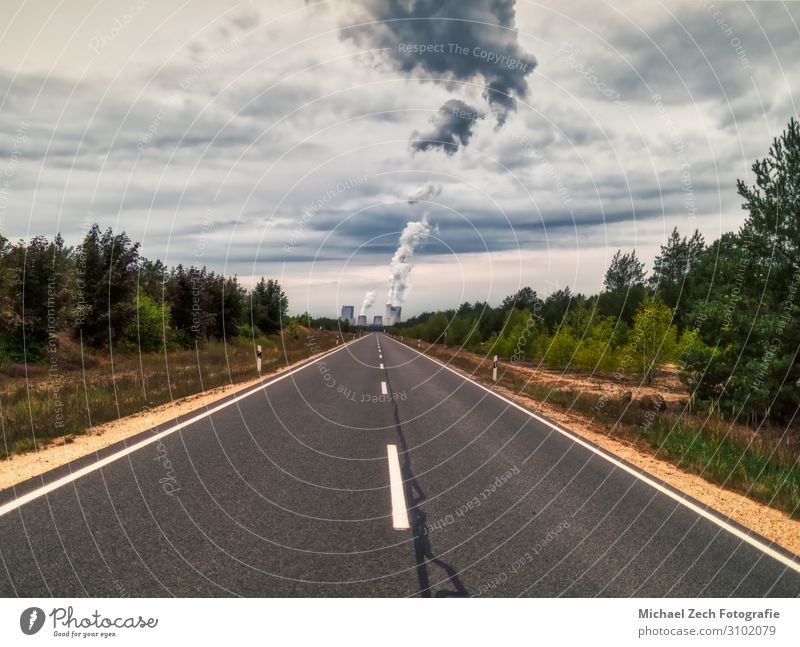 endless road to Boxberg Power Station in germany Ocean Factory Industry Technology Environment Nature Landscape Plant Sky Clouds Climate Ruin Chimney Street