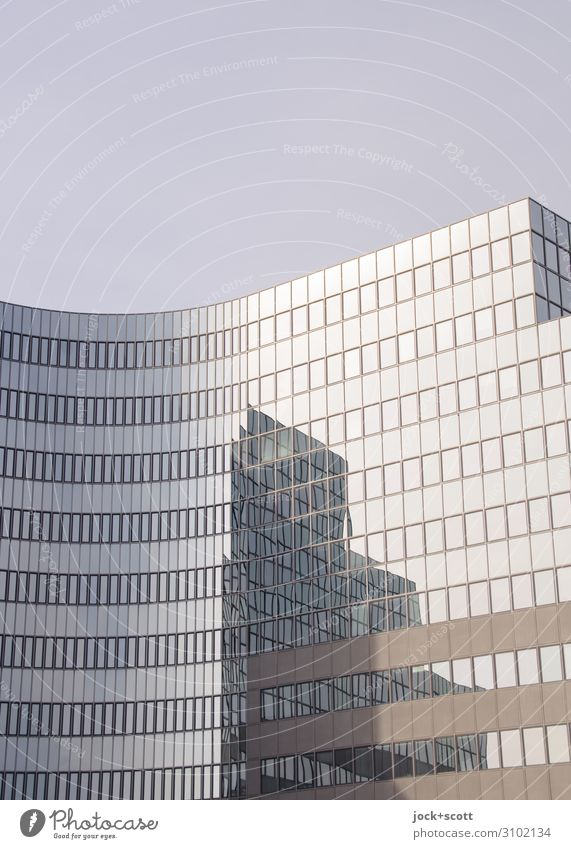 Reflexion, It is about time Beautiful weather Airport Berlin-Tempelhof High-rise Architecture Office building Facade Glas facade Sharp-edged Tall New Town Many