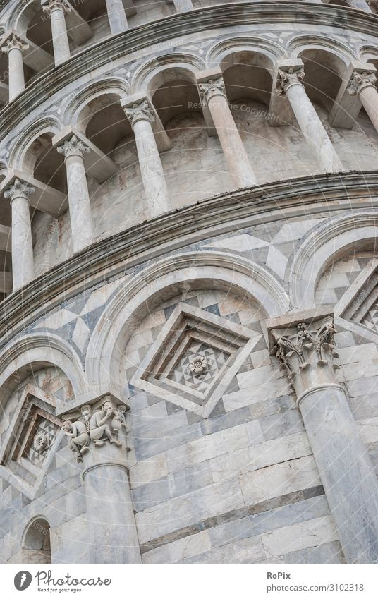 The leaning tower in detail. Tower Marble marble Vault Arcade Floors Architecture Art arches monasteries built Church Italy italy Tuscany Park columns