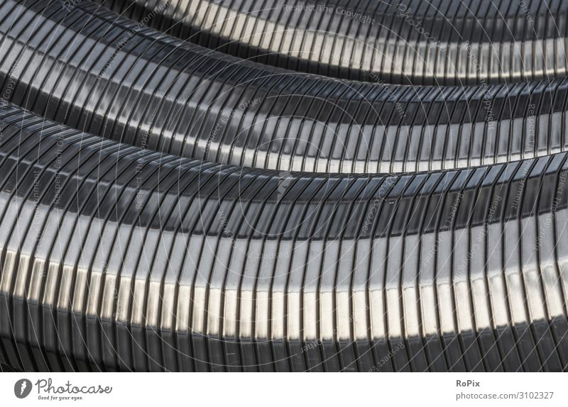 Close-up view of flexible cable protection tubes. cable duct cable guide Transmission lines Conduit Steel conduit Tube supply pipe niro Tunnel Manifold Harbour