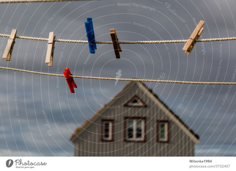 no laundry Fog Environment Clothesline Clothes peg House (Residential Structure) Sky Clouds Iceland North Colour photo Exterior shot Deserted