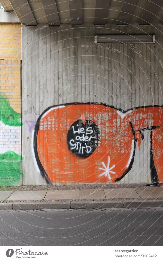 Street Graffiti Wall (building) Art Wall (barrier) Death Orange Brown Characters Communicate Culture Crazy Signage Eyeglasses Youth culture Concrete