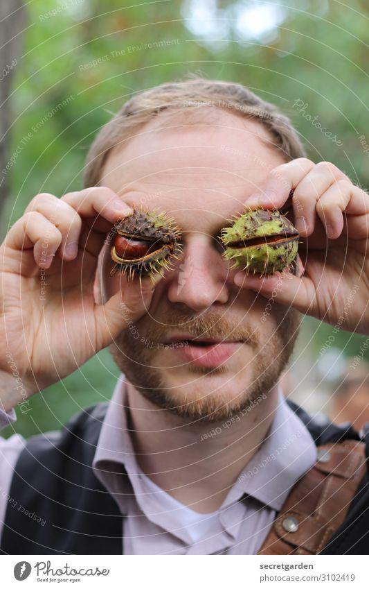Genus: Sweet chestnut. Chestnut Vegetarian diet Joy Playing Human being Masculine Man Adults Head Eyes Hand Fingers 1 30 - 45 years Nature Autumn
