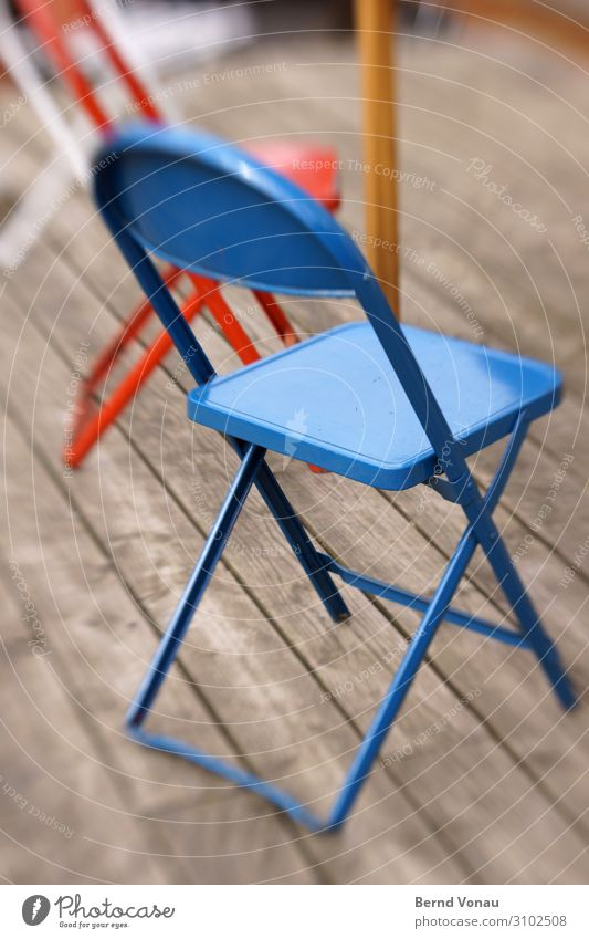 fin de season Terrace Authentic Folding chair Metal Colorspray Tricolor End of the season Meeting Flag France Play of colours Seating Exterior shot
