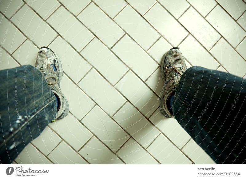 tiles Stand Sit Meeting Break Think Meditative Footwear Sneakers Working shoes Kitchen Bathroom Toilet Floor covering Feet Legs Tile Copy Space