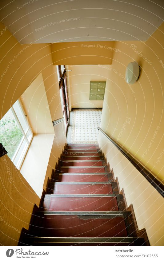 Staircase with window Stairs Landing Descent Go up Window Handrail Banister Apartment house Deserted Town house (City: Block of flats) Level Copy Space