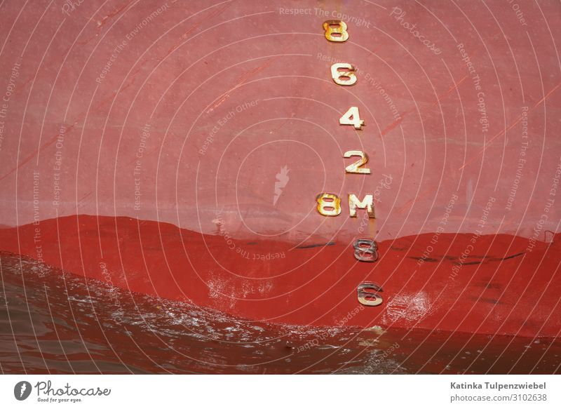 Tiefgang Transport Logistics Navigation Container ship Oil tanker Harbour Metal Water Sign Pink Red Industry Business Port City River Deserted Draft Watercraft