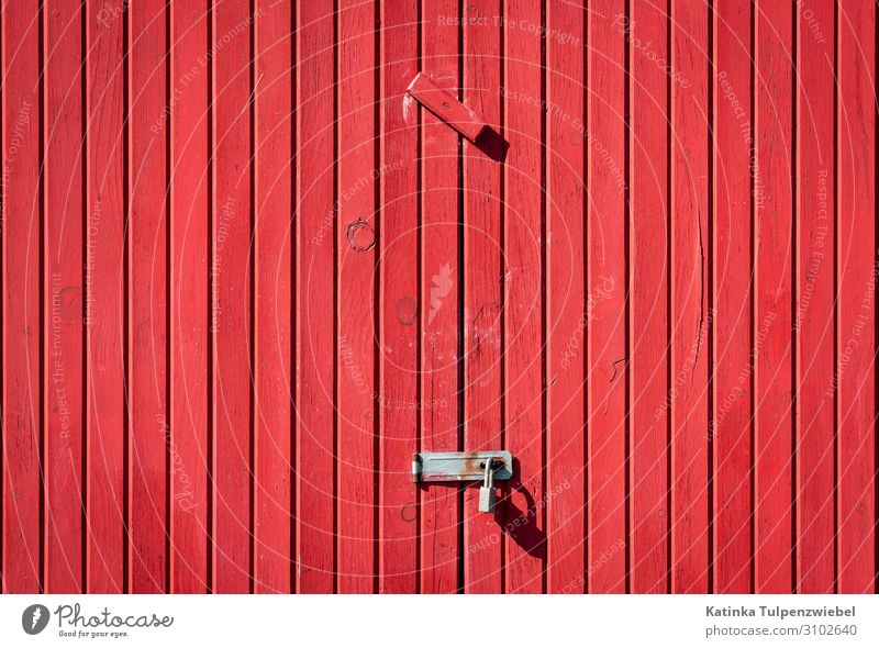 Rotes Tor, geschlossen House (Residential Structure) Parking garage Building Architecture Wood Metal Beautiful Gray Red Key Door Gate Wall (building) Closed