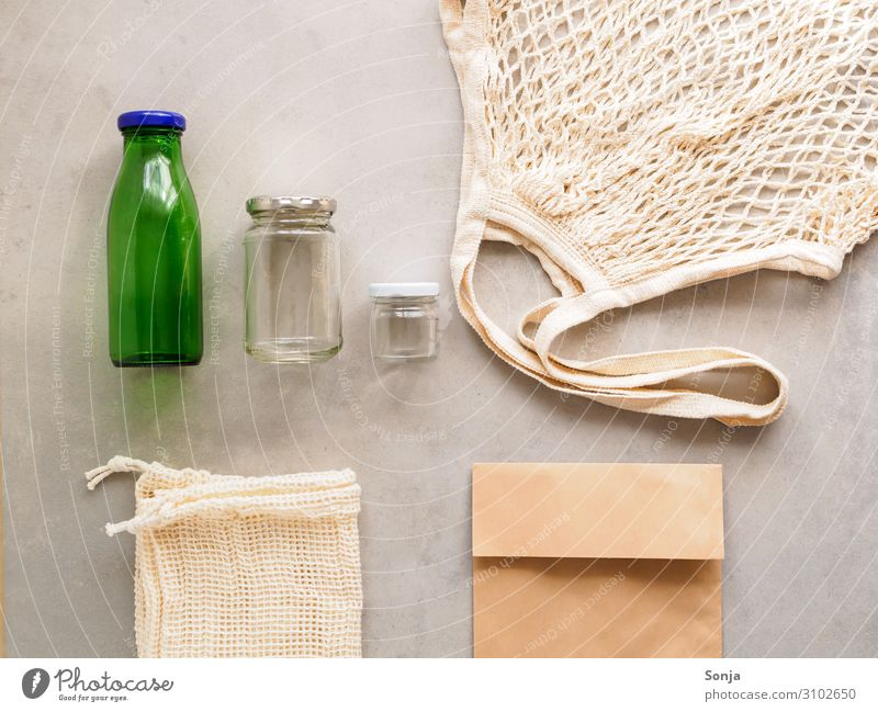 Reusable cloth bag paper bag and glass bottle Glass Lifestyle Shopping Environment Fabric bag Paper bag Glassbottle Together Sustainability Thrifty Resolve