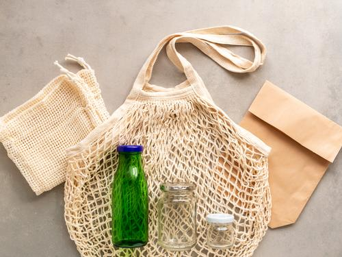 Reusable fabric bag and glass bottles, flat lay Glass Lifestyle Shopping Environment Paper Fabric bag Paper bag Glassbottle Simple Healthy Hip & trendy