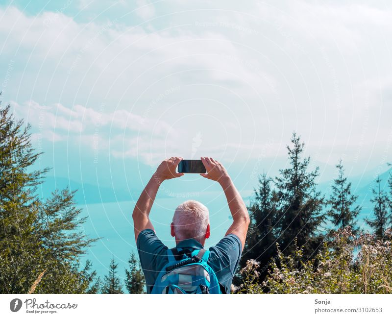Human being Sky Vacation & Travel Nature Man Summer Water Tree Relaxation Mountain Lifestyle Adults Autumn Exceptional Freedom