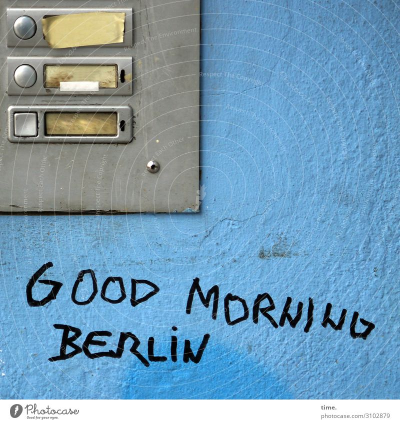 Berlin morning (II) Wall (barrier) Wall (building) Name plate Bell Sand Metal Characters Graffiti Firm Trashy Gloomy Self-confident Determination Sympathy