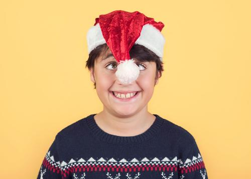 funny Child Wearing Christmas Santa Claus Hat Joy Winter Feasts & Celebrations Christmas & Advent New Year's Eve Human being Masculine Infancy 1 8 - 13 years