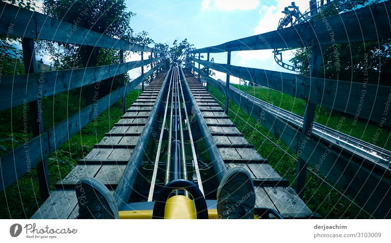 To the top of the summer toboggan run. You only see a pair of shoes. All green on the right and left. Masculine Adults Feet 1 Human being 45 - 60 years Plant