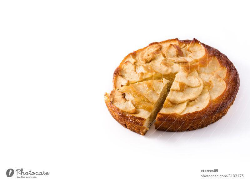 Homemade slice apple pie isolated on white background. Apple Pie Dessert Baked goods Slice Fruit Food Healthy Eating Food photograph Autumn Dough tart Seasons