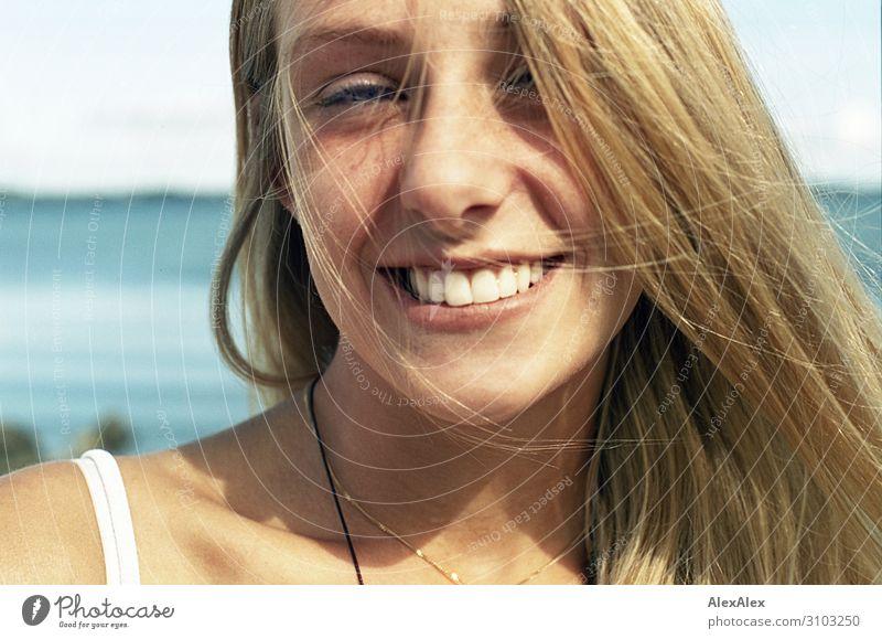 Portrait of a young woman Joy Beautiful Life Senses Summer Summer vacation Sun Beach Ocean Young woman Youth (Young adults) 18 - 30 years Adults Landscape