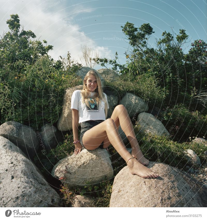 Young, lanky woman on a rocky dune Style already Wellness Life Summer Summer vacation Sun Analog Medium format Young woman Youth (Young adults) Legs