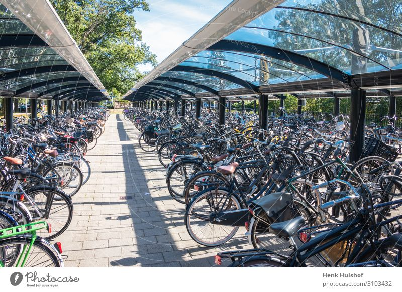 Typical dutch scene of a bicycle storage bicycle garage bicycle parking bike biking bright city day ecology efficient europe european frame handle handlebar