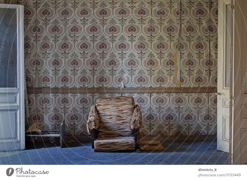 abandoned house living room House (Residential Structure) Furniture Chair Wallpaper Living room Architecture Faded Wait Dirty Retro Moody Loneliness Nostalgia