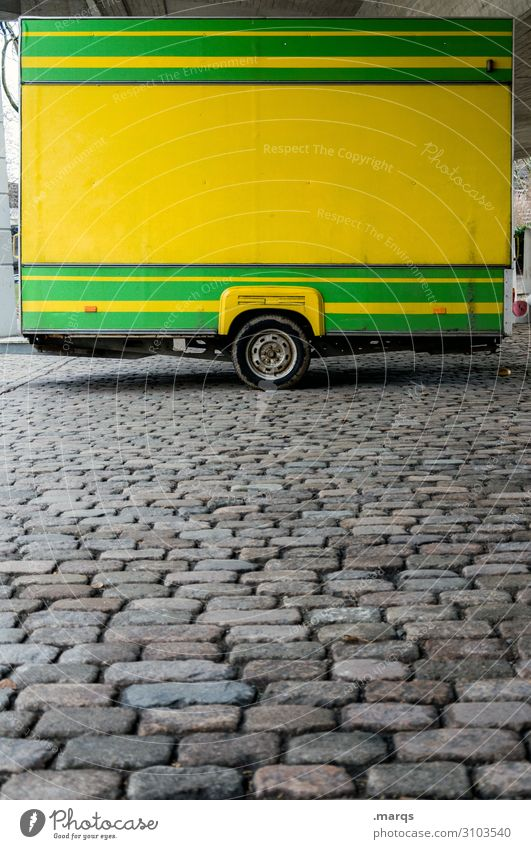 weekly market Farmer's market Market stall Trade Trailer Stalls and stands Cobblestones Line Yellow Green Colour Closed Colour photo Exterior shot Deserted