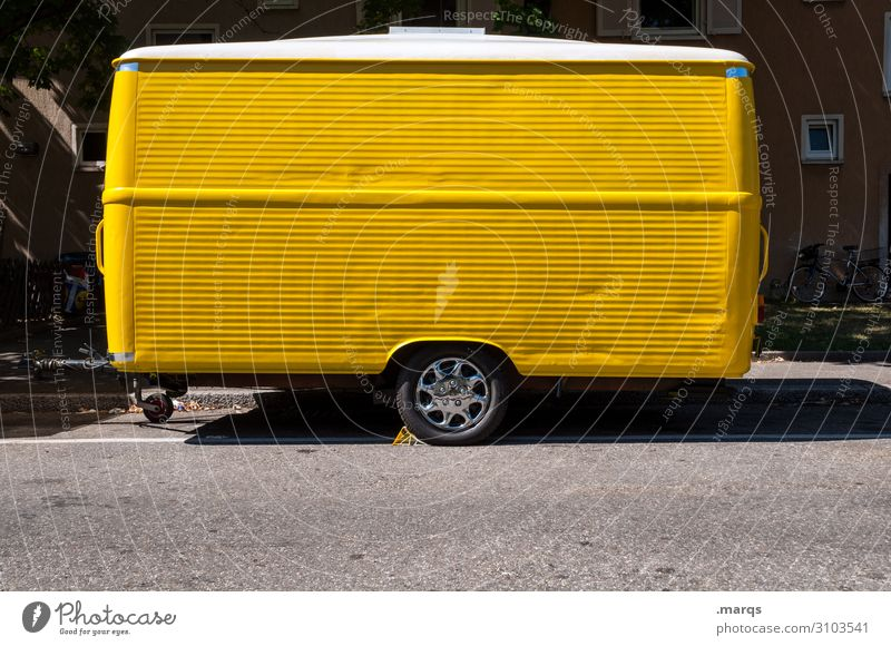 burger stand Vacation & Travel Farmer's market Market stall Trade Trailer Stalls and stands Caravan Crazy Yellow Colour Colour photo Exterior shot Deserted