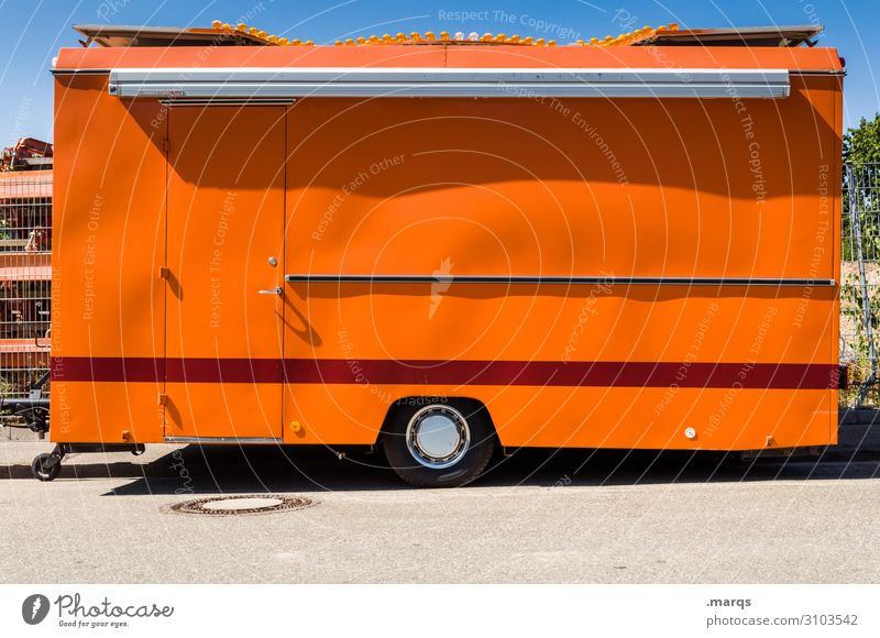 sausage stand Farmer's market Market stall Trade Cloudless sky Trailer Stalls and stands Stripe Orange Red Colour Closed Colour photo Exterior shot Deserted