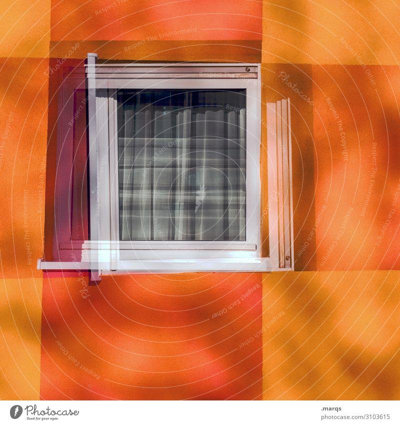 Autumn window Facade Window Stripe Living or residing Simple Violet Orange Red Colour Double exposure Colour photo Exterior shot Deserted Copy Space left