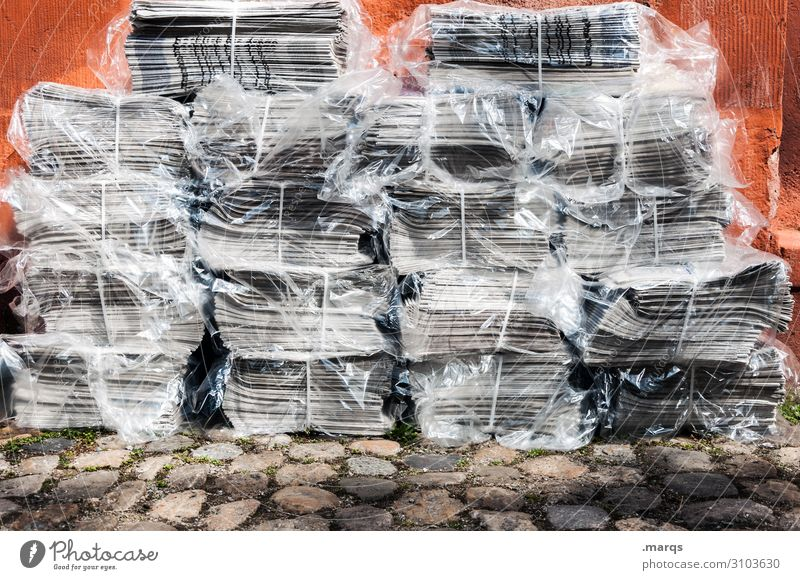 news Print media Newspaper Stack Many Education Communicate Information Colour photo Exterior shot Day