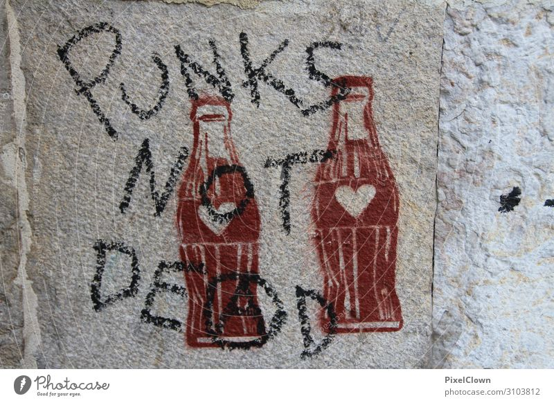Punk is not dead Food Nutrition Beverage Bottle Design Joy Night life Party Culture Youth culture Subculture Write Crazy Brown Moody Esthetic Chaos Colour photo