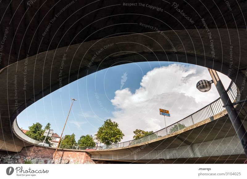 roundabout Sky Clouds Tree Freiburg im Breisgau Downtown Street Fence Bridge Round Perspective Arch Above Colour photo Exterior shot Deserted Copy Space top