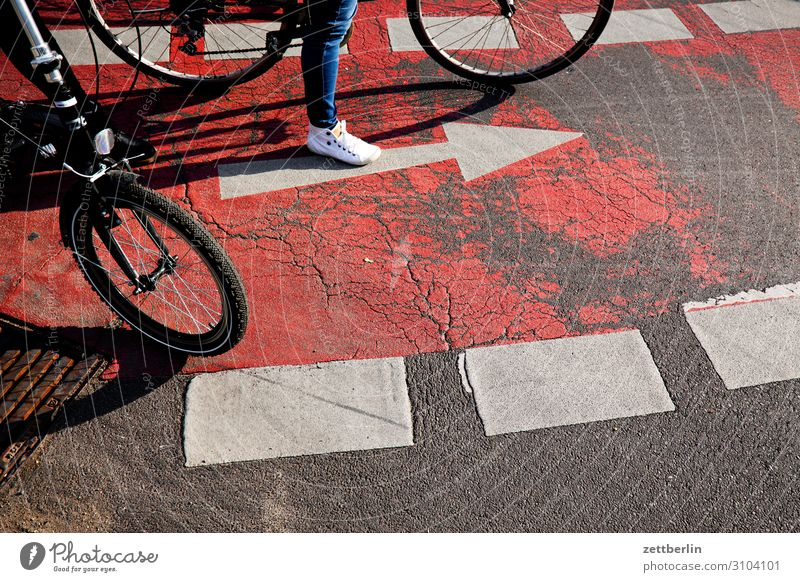 bicycle path Bicycle Cycling Cycling tour Cycle path Crossroads Road junction Turn off Transport Street Road traffic Arrow Orientation Wait Stand Rule