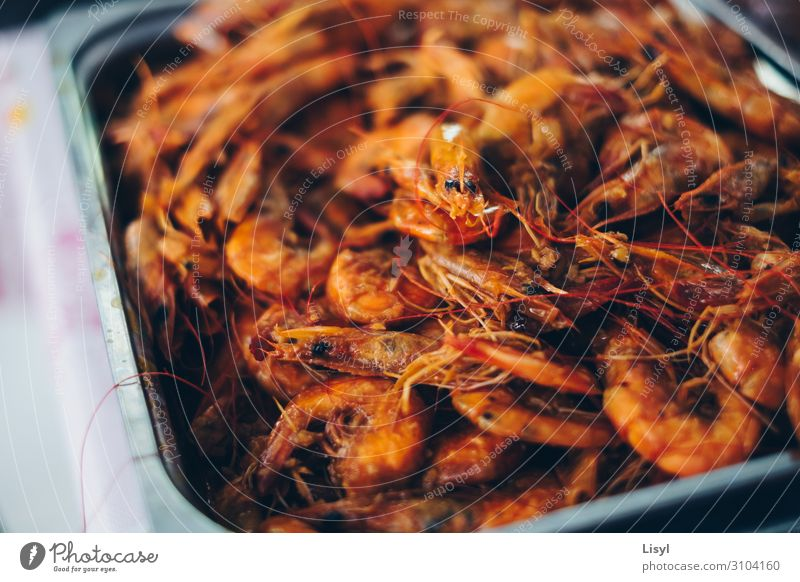 Cooked shrimps or prawns on a silver platter. Food Seafood Nutrition Eating Breakfast Lunch Dinner Diet Asian Food Colour photo Interior shot Close-up Detail
